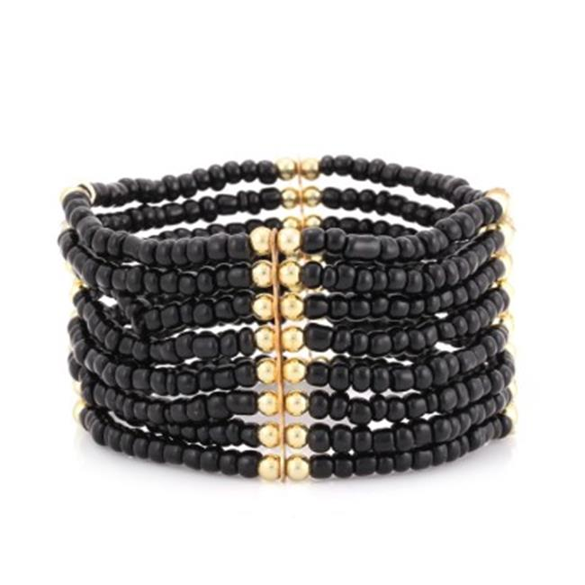 C Jewelry Gold-Tone 8 Row Black Seed Bead Stretch Bracelets