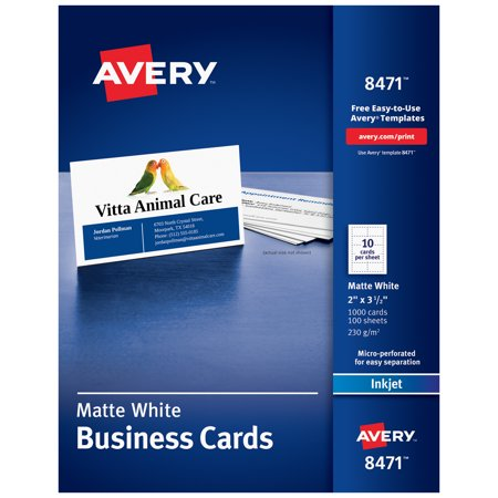 Waterproof Business Cards - Avery Printable Business Cards, Inkjet Printers, 1,000 Cards, 2 x 3.5, Heavyweight (8471)
