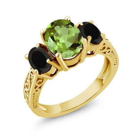 2.13 Ct Oval Green Peridot Black Onyx 925 Yellow Gold Plated Silver 3-Stone Ring