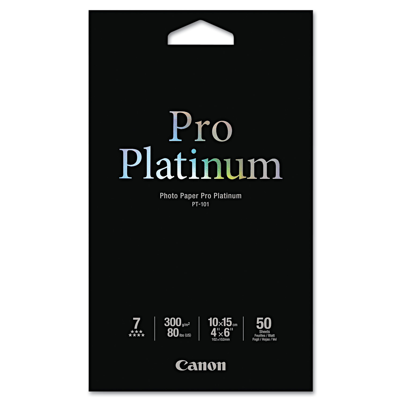 Canon Photo Paper Pro Platinum, High Gloss, 4 x 6, 80 lb., White, 50 Sheets/Pack -CNM2768B014