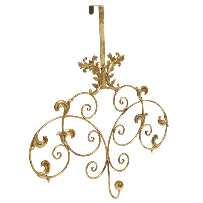 "23.5"" Rich Elegance Gold Distressed-Finish Vine and Scroll Door Mount Wreath Holder"