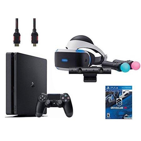 Refurbished PlayStation VR Start Bundle VR Headset Move Controller PlayStation Camera Motion Sensor Sony PS4 Slim 1TB Console Jet Black And VR Game Disc Psvr Driveclub Uncharted 4