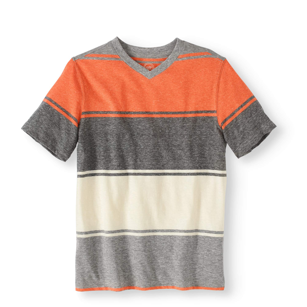 New Boys Wonder Nation Thick Stripe Red Gray V-Neck Shirt Tee Size XS 4-5
