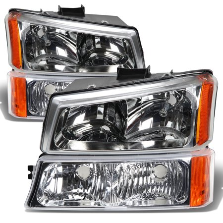 Chevy Truck Headlamp Headlight - For 03-06 Chevy Silverado/Avalanche 4-PC Headlight Lamps With Amber Reflector (Chrome Housing) - 1 Gen 04 05