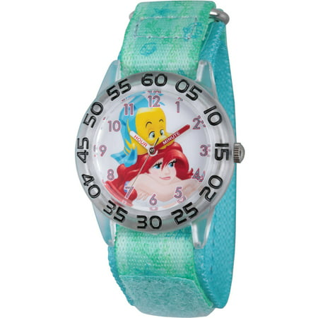 Disney Princess Ariel and Flounder Girls' Clear Plastic Time Teacher Watch, Green Stretch Hook and Loop Nylon Strap with Printed Ariel