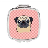 Checkerboard Pink Fawn Pug Compact Mirror, 2.75 x 3 x .3 In.