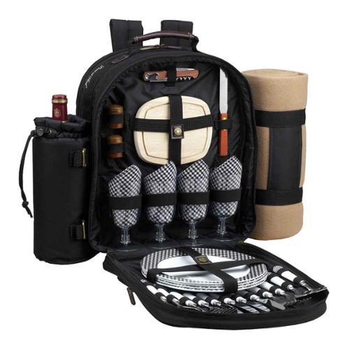 Classic Backpack for 4 w/blanket (Black w Gingham Napkins)