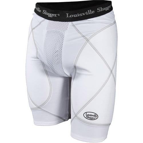 Louisville Slugger Men's Slugger Gold Shield Sliding Shorts, White