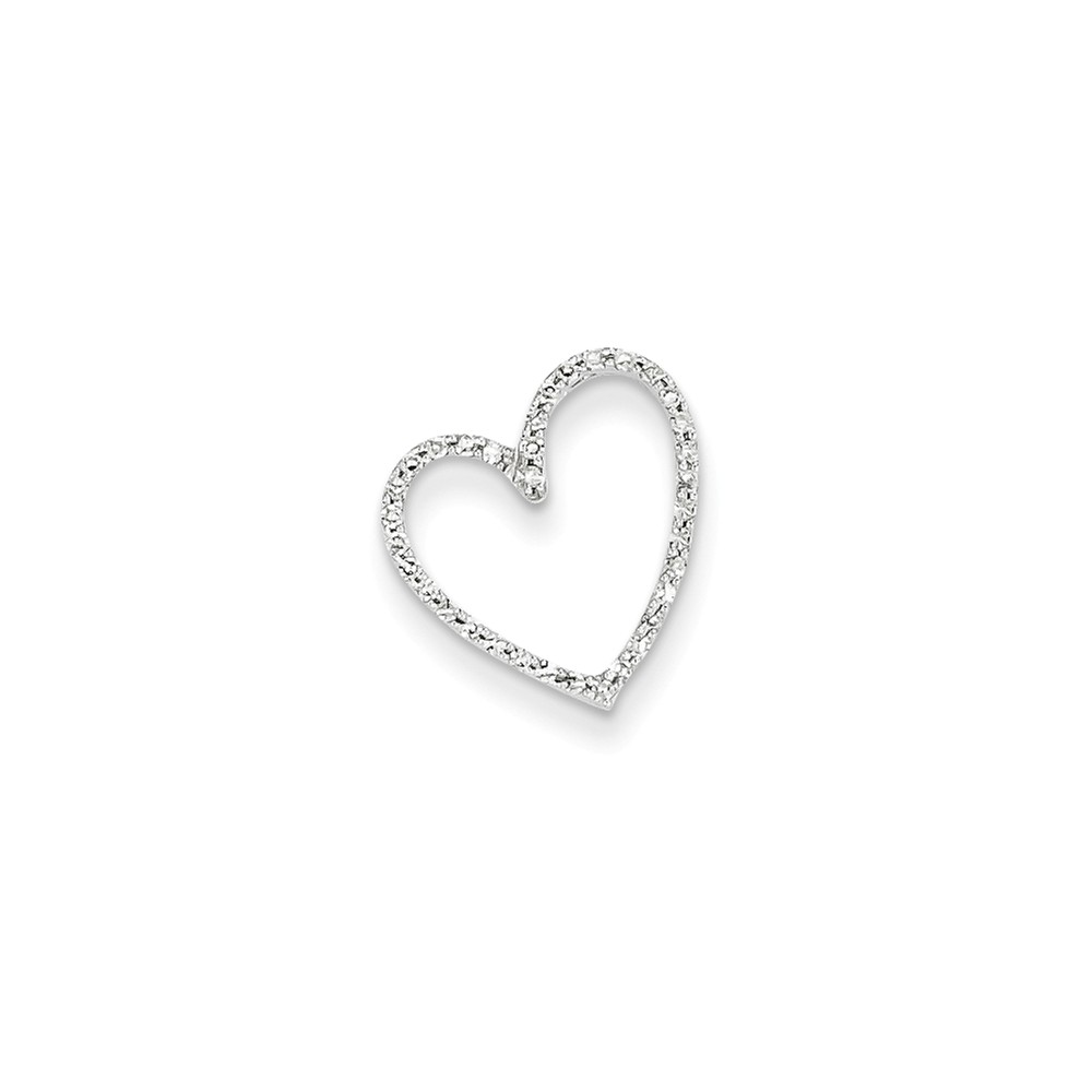 IceCarats 14k White Gold Diamond Vintage Heart Necklace Chain Slide Love Fine Jewelry Gift Set For Women Heart by IceCarats