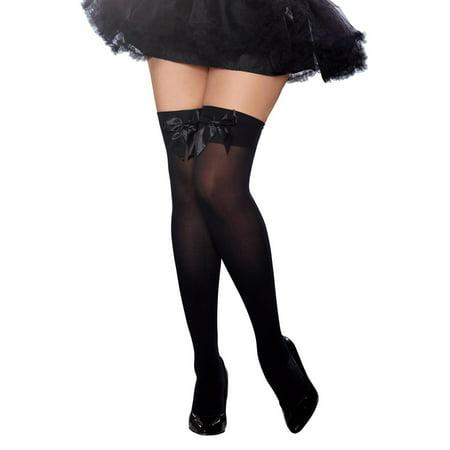 c9e4c20a9 Dreamgirl - Plus Size Full Figure Satin Bow Opaque Thigh High Stockings  Hosiery - Walmart.com