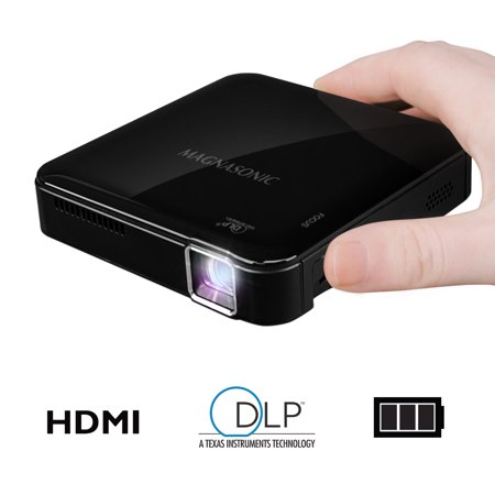 (Magnasonic Mini Portable Pico Video Projector, HDMI, Battery, Speakers, 50 ANSI Lumens for Movies, Presentations, Smartphones (PP71))