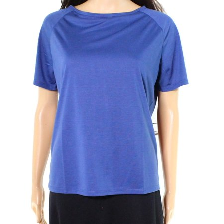 IMAN NEW Blue Womens Size Small S Short-Sleeve Stretch Boat-Neck Blouse