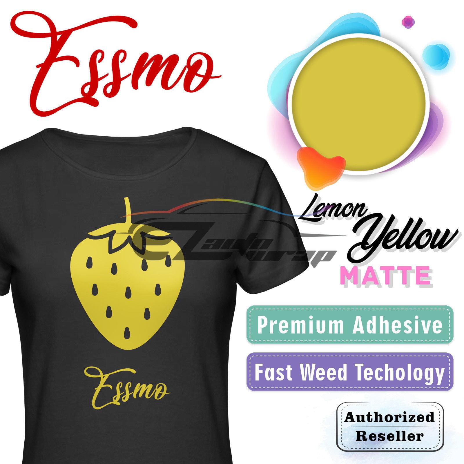 "ESSMO Lemon Yellow Matte Solid Heat Transfer Vinyl HTV Sheet T-Shirt 20"" Wide Iron On Heat Press 20""x12"""