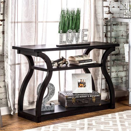 Furniture of America Sara Modern Black 2-shelf Console Table by