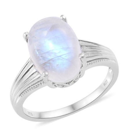 Solitaire Ring 925 Silver Oval Rainbow Moonstone Moonstone Oval Ring