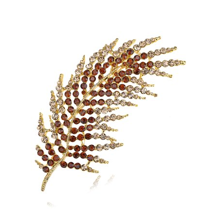 - Golden Smoke Topaz Holiday Feather Leaf Palm Frond Crystal Rhinestone Pin Brooch