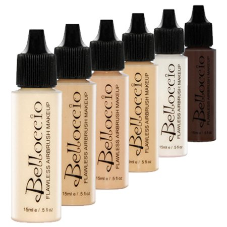 Belloccio FAIR Airbrush Makeup FOUNDATION SET Light Shade Tone Face Cosmetic Kit