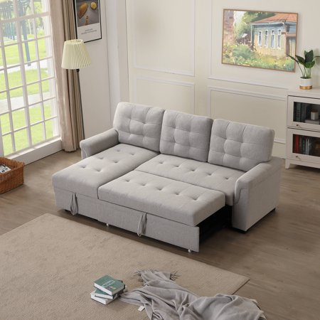 URHOMEPRO Sectional Sofa Sleeper with Reversible Chaise, Modern Convertible Sofa Bed, Premium Linen Fabric Living Room Couches and Sofas with Storage, Wheels, Living Room Furniture for Home, Q13718