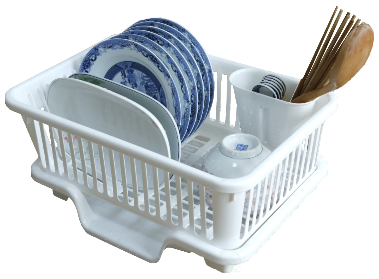 Basicwise Plastic Dish Rack with Drain Board and Utensil Cup by Quickway Imports Inc
