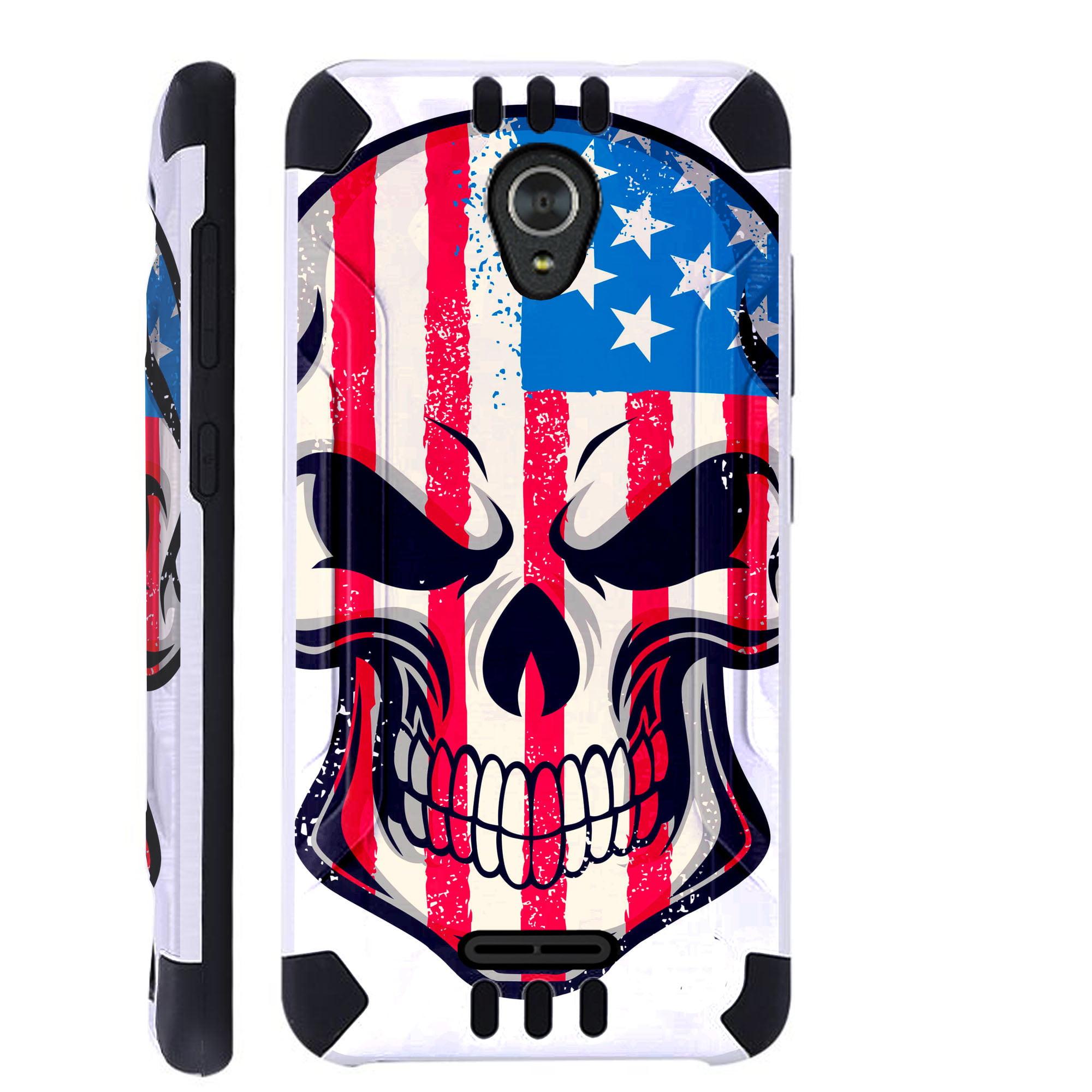 For Alcatel idealXCITE / Alcatel Verso / Alcatel Raven / Alcatel CameoX / Alcatel Fiji Case Brushed Metal Texture Hybrid TPU KombatGuard Phone Cover (US Flag Skull)
