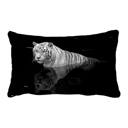 PHFZK Animal Pillow Case, Black And White Tiger Standing in Water Pillowcase Throw Pillow Cushion Cover Two Sides Size 20x30 inches ()