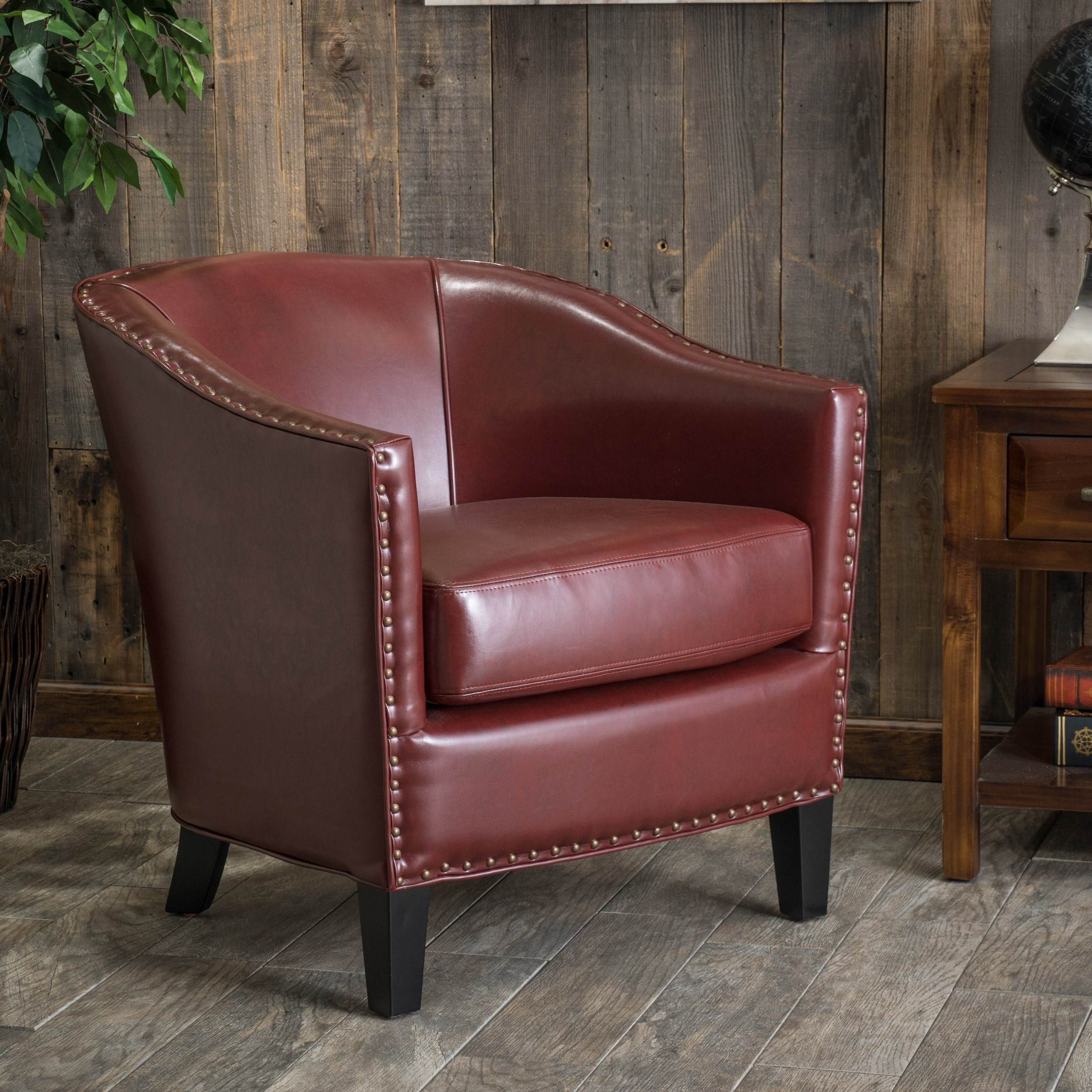 Christopher Knight Home Austin Oxblood Red Bonded Leather Club Chair by by Overstock
