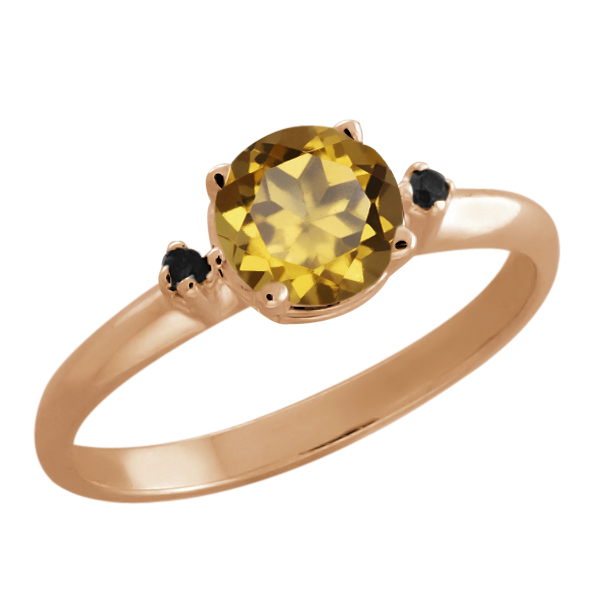 0.82 Ct Round Whiskey Quartz Black Diamond Rose Gold Plated Sterling Silver Ring