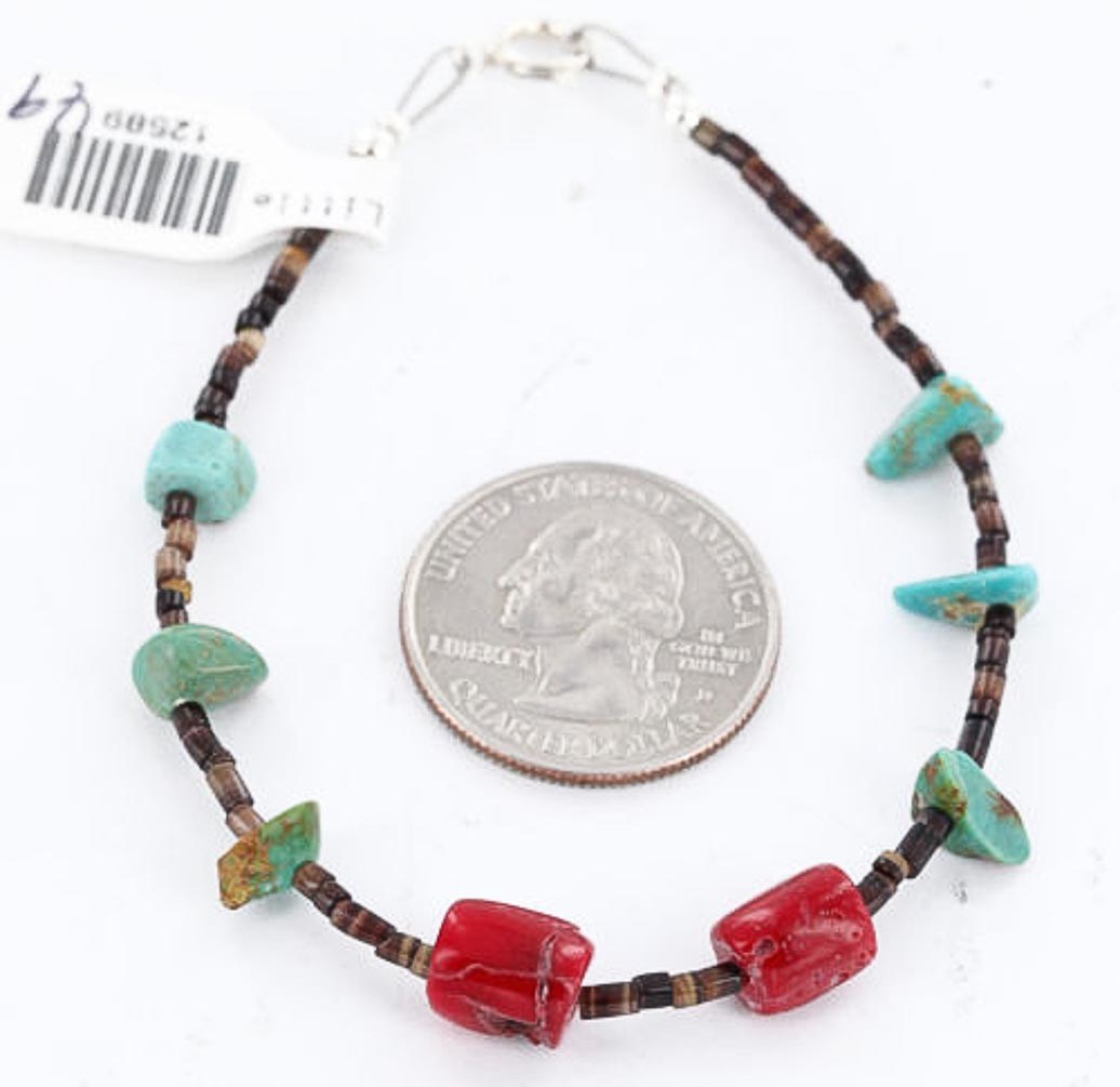 80 Retail Tag Authentic Made by Charlene Little Navajo .925 Sterling Silver Turquoise and CORAL Native American Bracelet by