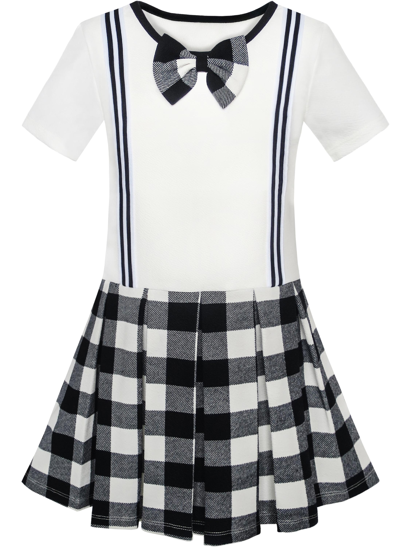 Girls Dress School Uniform Black White Check Suspender Skirt 4