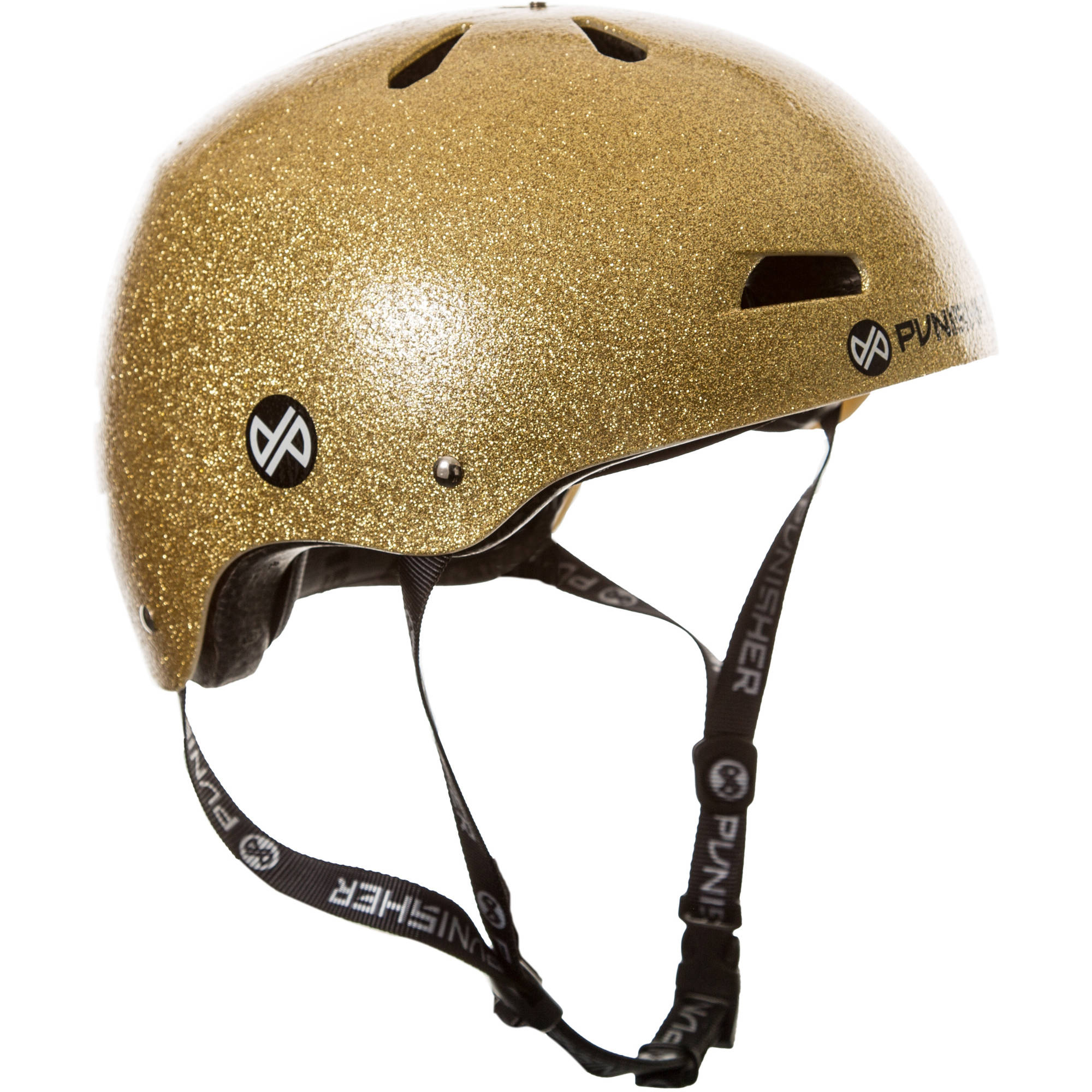 Punisher Skateboards Pro 13-Vent Gold Flake Dual Safety Certified BMX Bike and Skateboard Helmet, Youth Medium... by Punisher Skateboards
