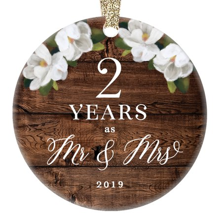 2019 Christmas Ornament 2nd Second Wedding Anniversary Keepsake Present Two Years Wed Husband Wife Married Couple Country Ceramic 3