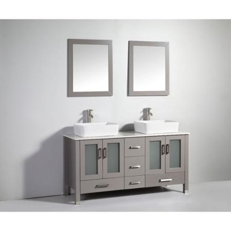 Legion furniture 59 inch light grey solid wood double sink vanity set with faucet and mirror for Solid wood double sink bathroom vanity