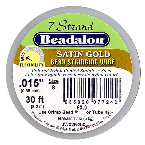 Beadalon Wire Satin Gold 7 Strand .015 Inch / 30Ft