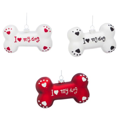 Cypress Home Holiday I Love My Dog Bone Ornament (Set of 3)