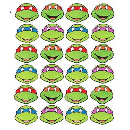 24 EDIBLE CAKE IMAGE- NINJA TURTLES -24 CUPCAKE TOPPERS (Ninja Turtle Cake Kit)