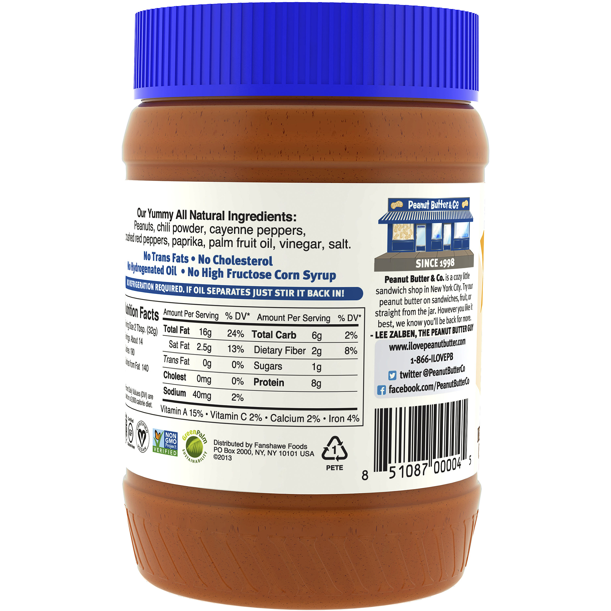 Peanut Butter & Co. The Heat Is On Peanut Butter, 16 oz  (Pack of 6)