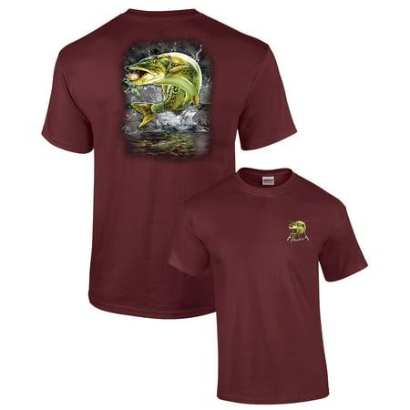 Adult Fishing T-Shirt Jumping Muskie-maroon-4xl