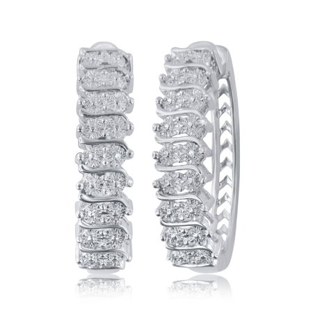 Elegant 0.02 Carat Natural Diamond Accent Hoop Earrings In 14K White Gold Plated