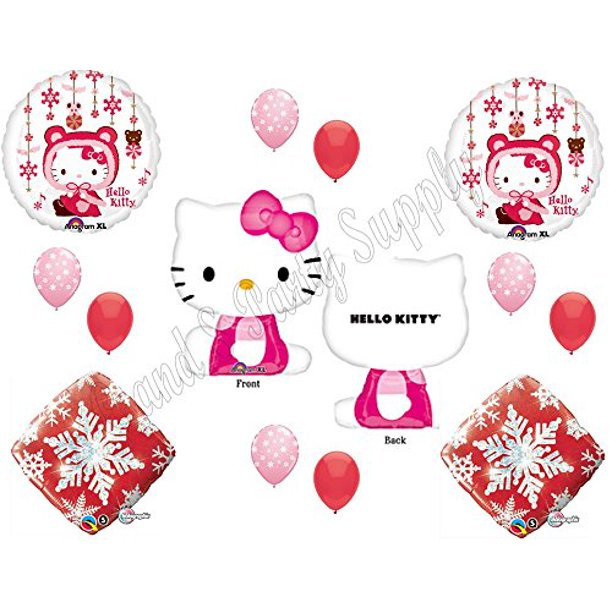 Winter Snow Hello Kitty Happy Birthday Party Balloons Decoration Christmas Walmart Com Walmart Com