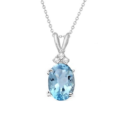Natural Oval Swiss (Genuine 1.00 Carat Natural 7x5mm Oval Shaped Swiss Blue Topaz with White Topaz Necklace In 925 Sterling)