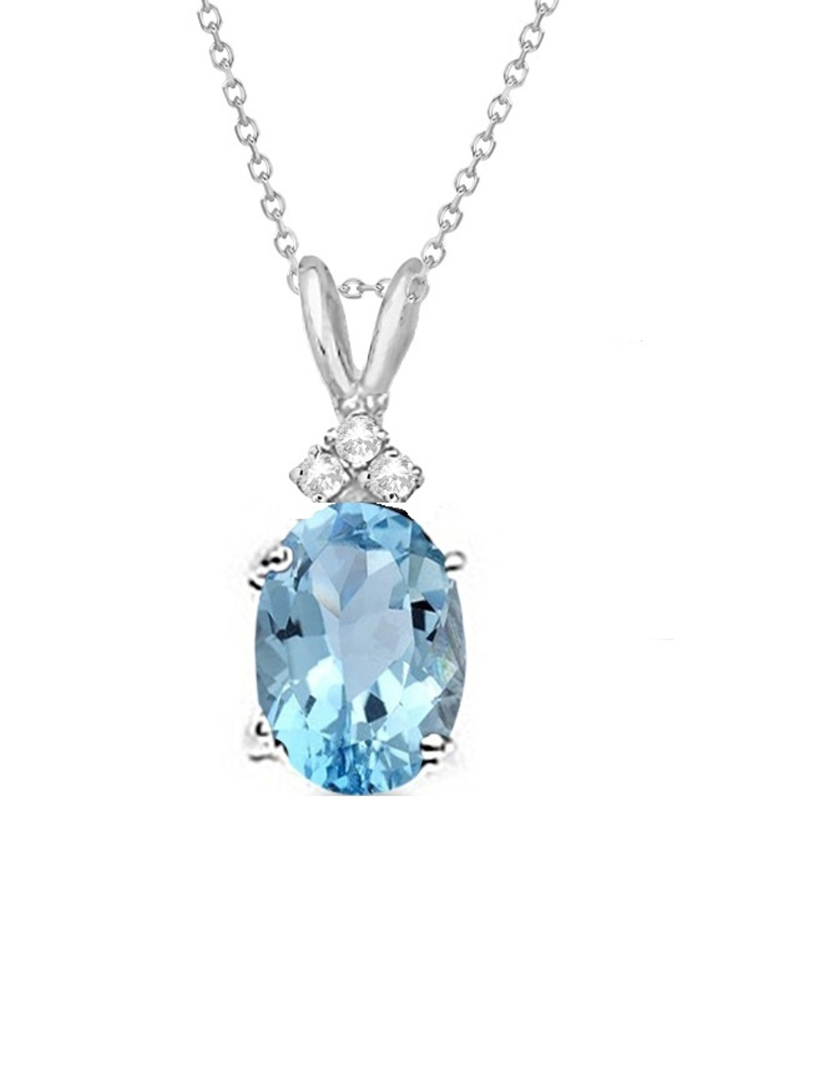 Genuine 1.00 Carat Natural 7x5mm Oval Shaped Swiss Blue Topaz with White Topaz Necklace In 925 Sterling Silver