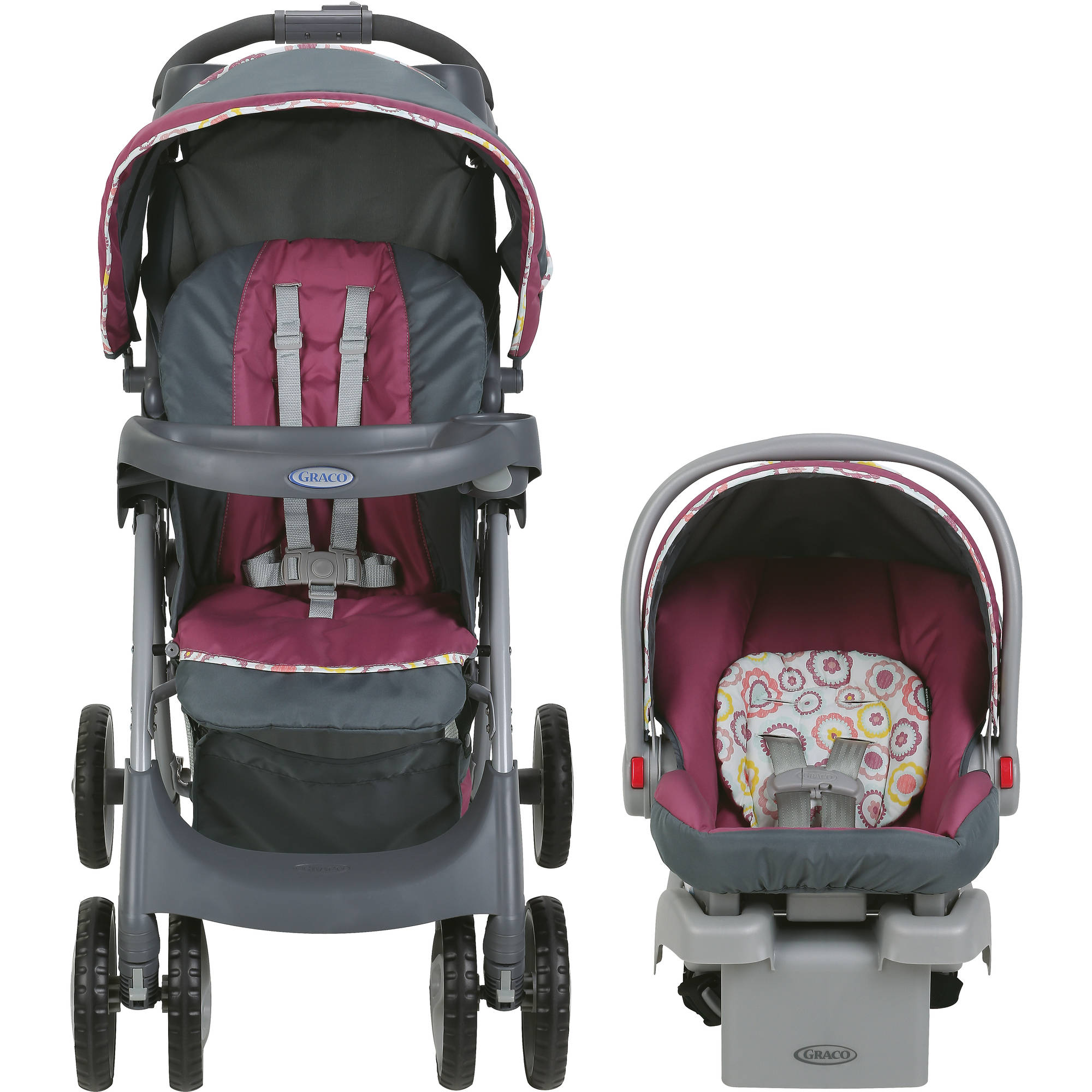 Graco fy Cruiser Connect Stroller Travel System with SnugRide Connect 30 Infant Car Seat Daisy Walmart