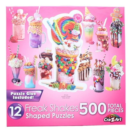 Freak Shakes | 12 Mini Shaped Jigsaw Puzzles | 500 Color Coded Pieces
