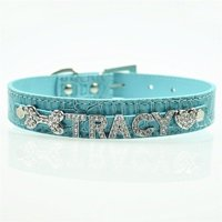 Personalized 10MM 5 Pcs Alphabet Reflective Leather Bling Rhinestone Pet Puppy Collar - Blue Small