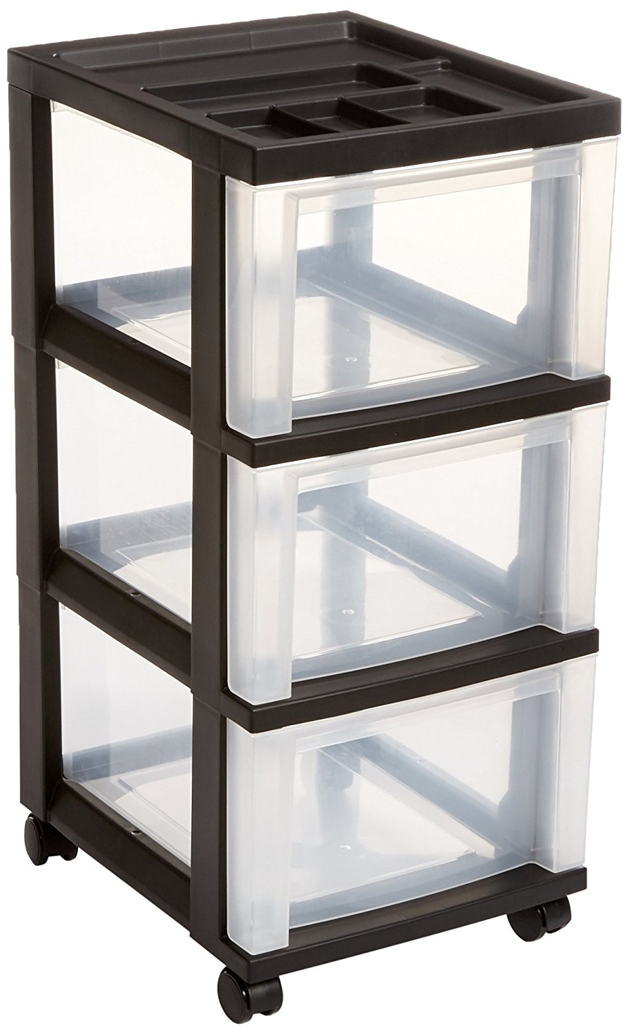IRIS 3-Drawer Rolling Storage Cart with Organizer Top, Black by IRIS USA, Inc.