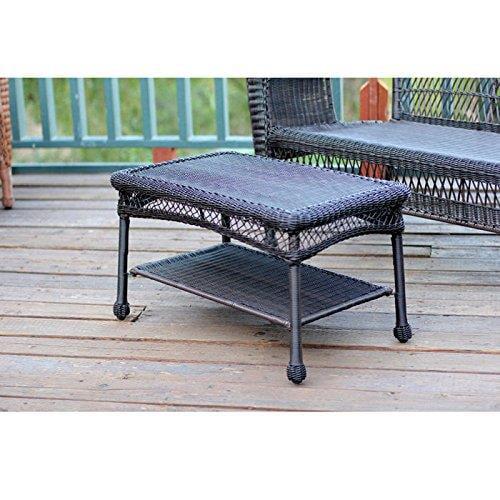 Jeco Wicker Patio Furniture Coffee Table in Espresso by W00202ST