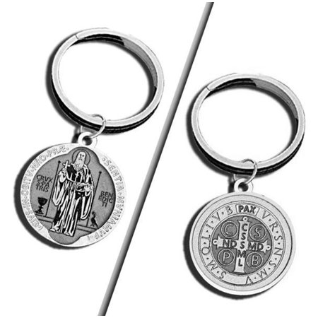 Saint Benedict Jubilee Religious Engravable Keychain - 1 1/4 Inch X 1 1/4 Inch Round - Sterling - Engravable Keychains