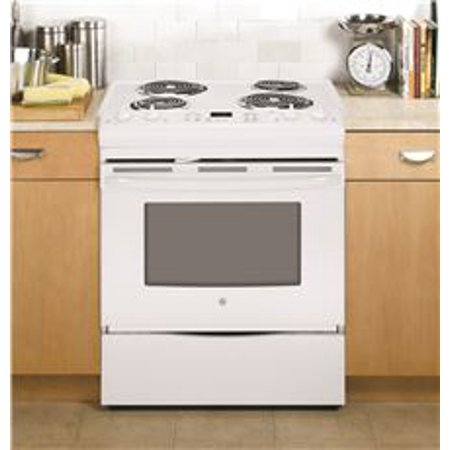GE SLIDE-IN ELECTRIC RANGE, SELF-CLEANING, 30 IN, 4.4 CU. FT, FRONT CONTROL, SELF-CLEANING FEATURES Coil heating elements^Provide even heat and easy cleanup4.4 cu. Ft. oven capacity^Enough room to cook an entire meal at once Removable full-width storage drawer^Store cookware or kitchen accessories Electronic oven controls^Electronic touch pads are easy to operate Certified Sabbath Mode Chrome drip bowls^Contain spills and remove for easy cleaning