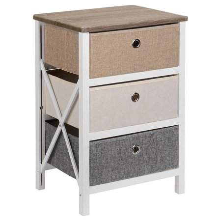 SortWise MDF End Table/Night Stand with Storage Bins, Removeable Storage Drawer Bedroom Organizer - image 6 of 10