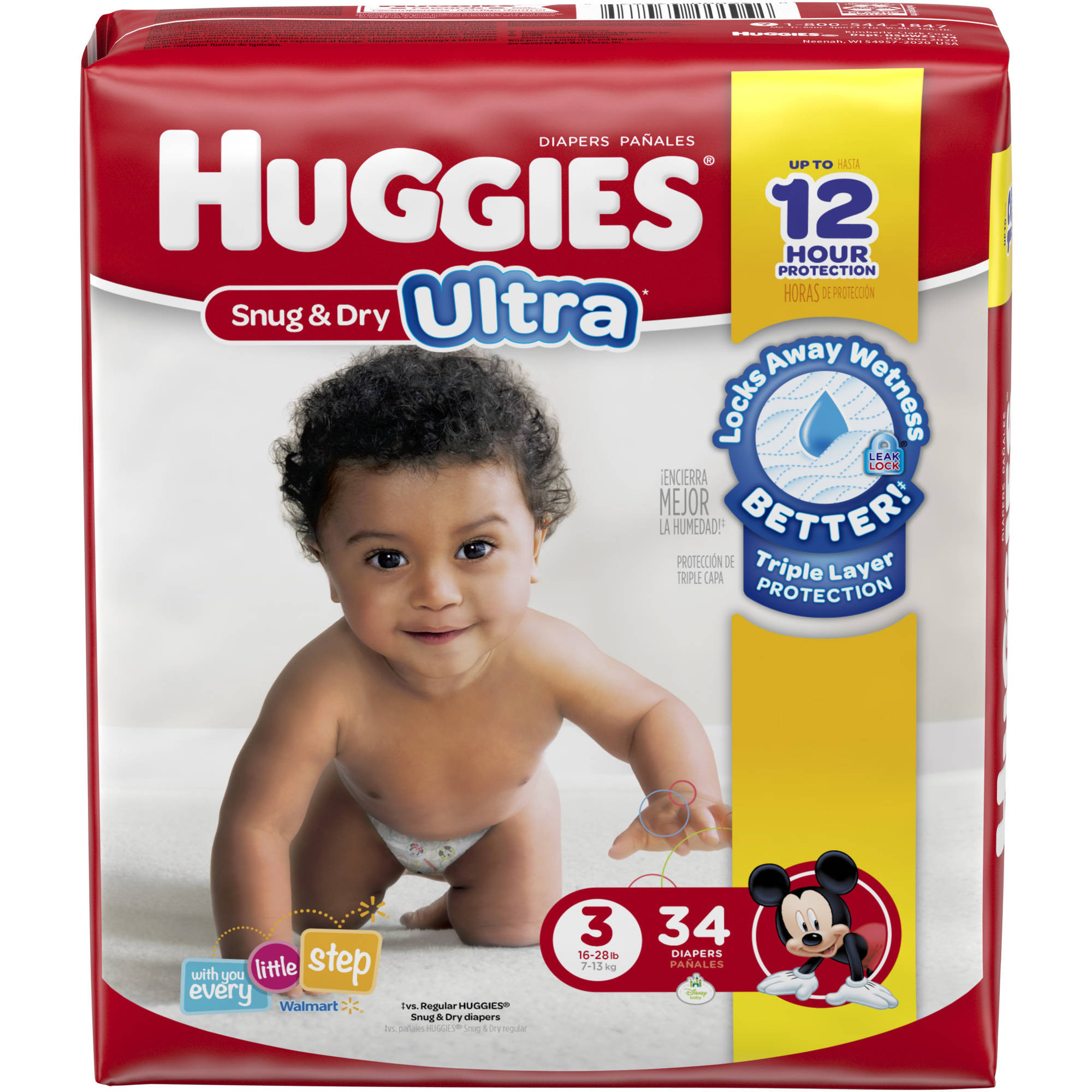 HUGGIES Snug & Dry Ultra Diapers, Size 3, 34 Diapers